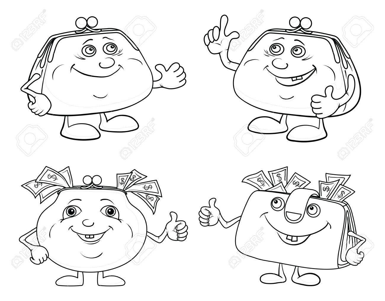 Dessin Porte Monnaie mettre de l'argent de dessin animé souriant avec porte-monnaie en