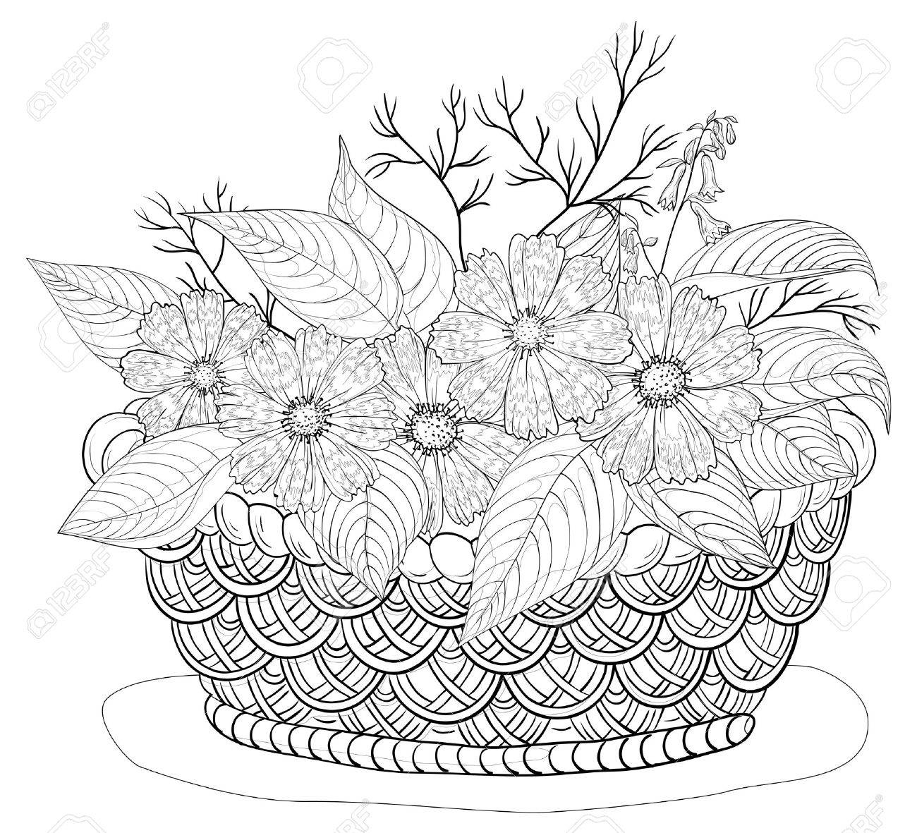 Wattled basket with flowers cosmos and leaves, black contours Vector - 16701242