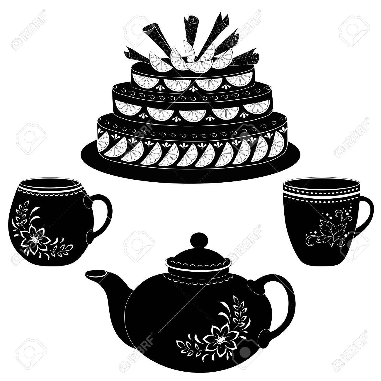 Holiday cake, teapot and cups, black contours on white background Stock Vector - 17962503
