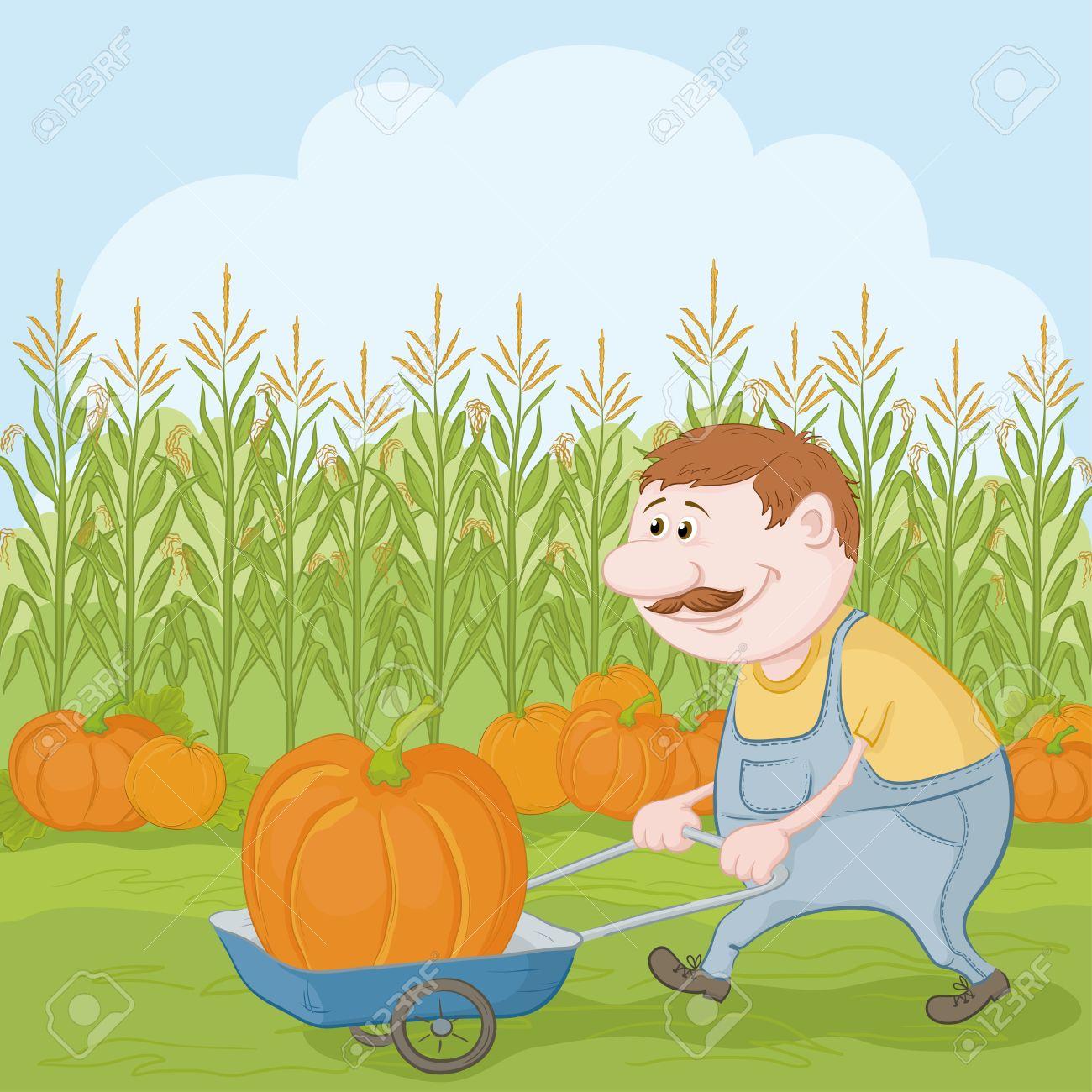 Farmers Harvesting Crops Farmer Cartoon Man Harvest