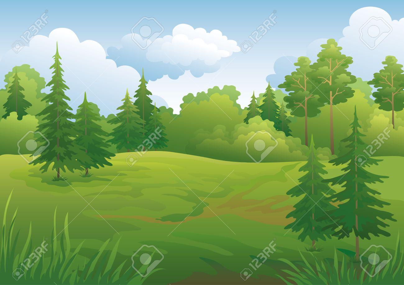 Landscape summer green forest and blue sky illustration - 20343742