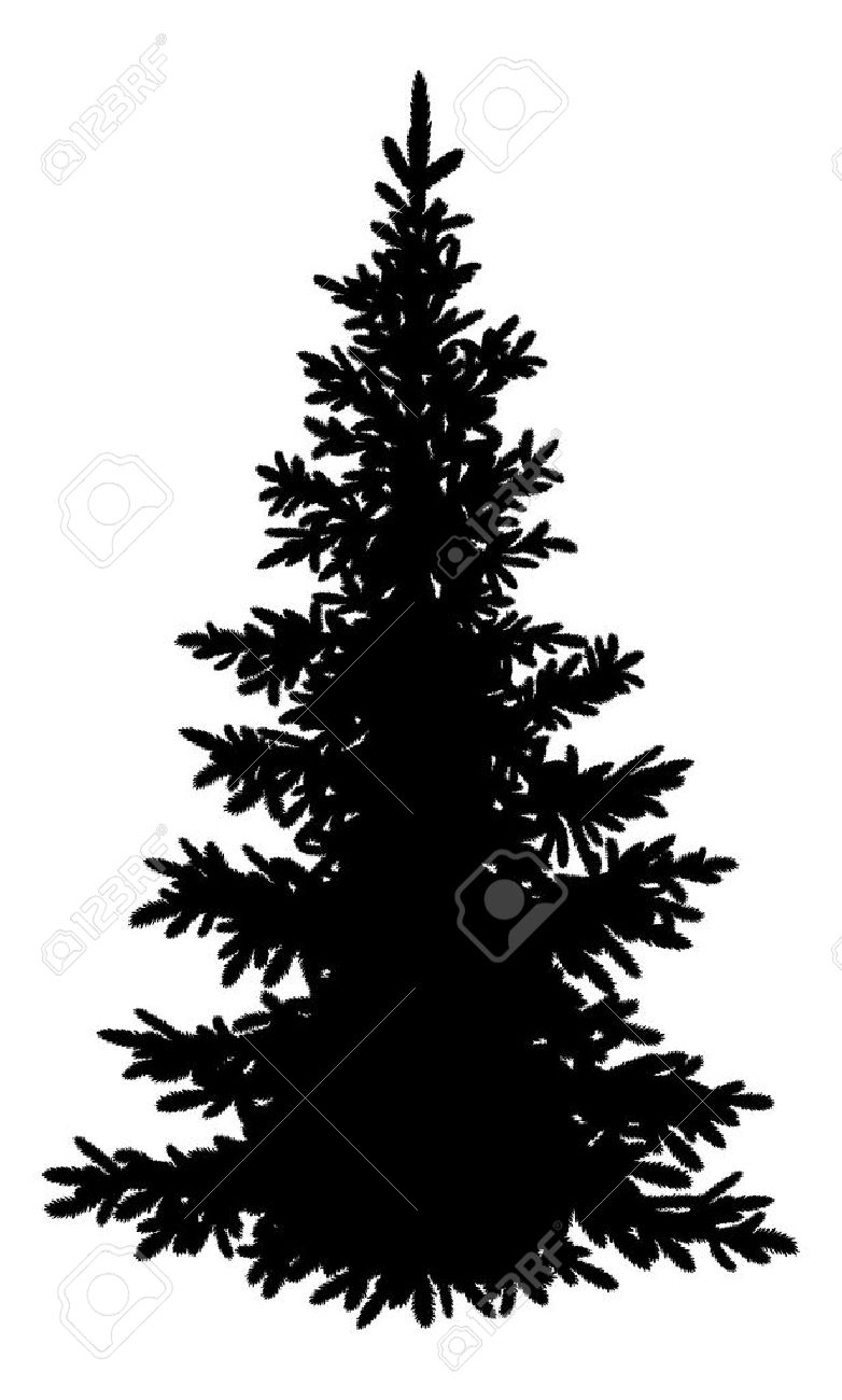 Arbre Sapin De Noël Silhouette Noire Isolé Sur Fond Blanc Vecteur