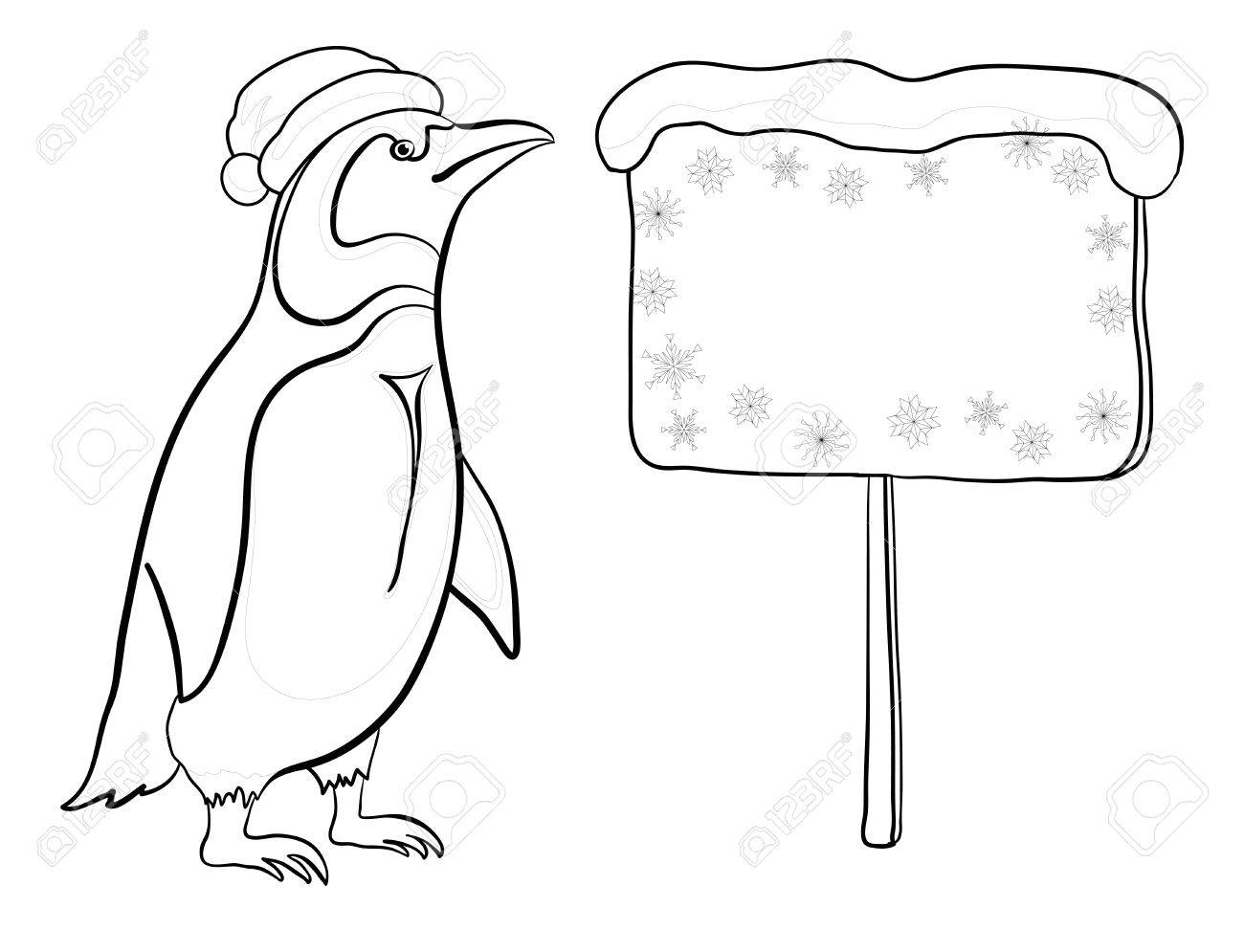 Antarctic emperor penguin in a Santa Claus hat with a Christmas poster for your text, black contour on white background. Vector Stock Vector - 23656150