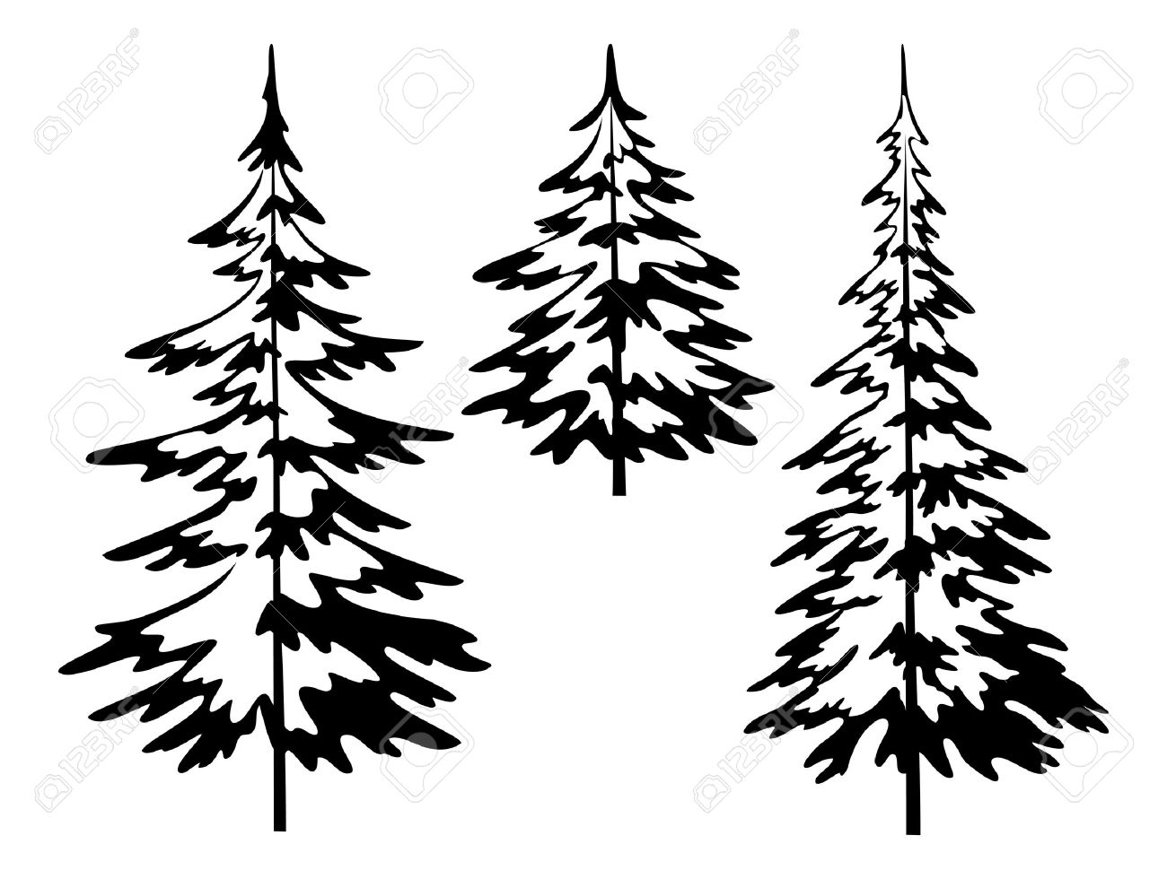 Realistic christmas tree drawing - Christmas Tree Outline Christmas Fir Trees Symbolical Pictogram Black Contours Isolated On White