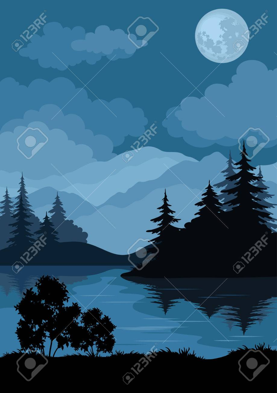 Night landscape: mountains lake, trees and moon. - 24803906