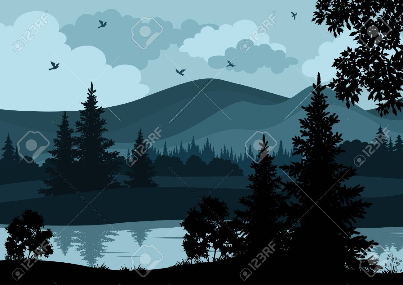 Night landscape, mountains, river, trees and birds, silhouettes. Vector - 26914938
