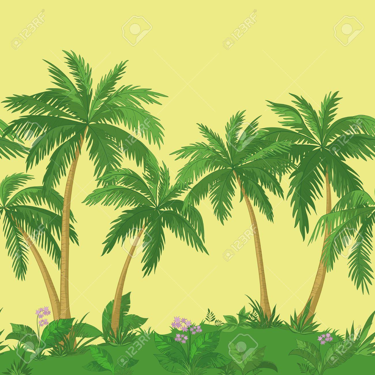 Exotic seamless background landscape green palm trees flowers exotic seamless background landscape green palm trees flowers and yellow sky stock mightylinksfo Gallery