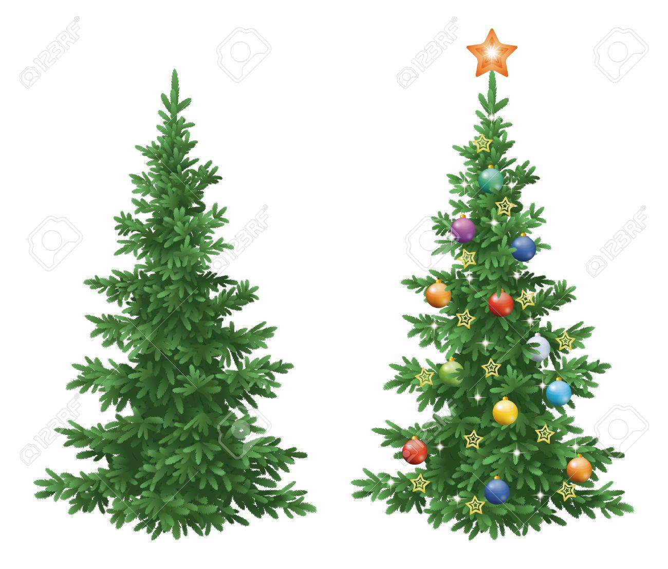 Christmas holiday spruce fir trees, natural and with ornaments, colorful balls and golden stars isolated on white background. Eps10, contains transparencies. Vector - 31589049
