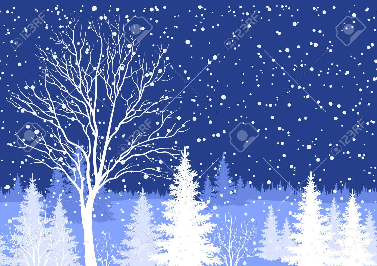 Seamless horizontal background, winter Christmas holiday woodland night landscape with trees and snowflakes white silhouettes. Vector - 33819920