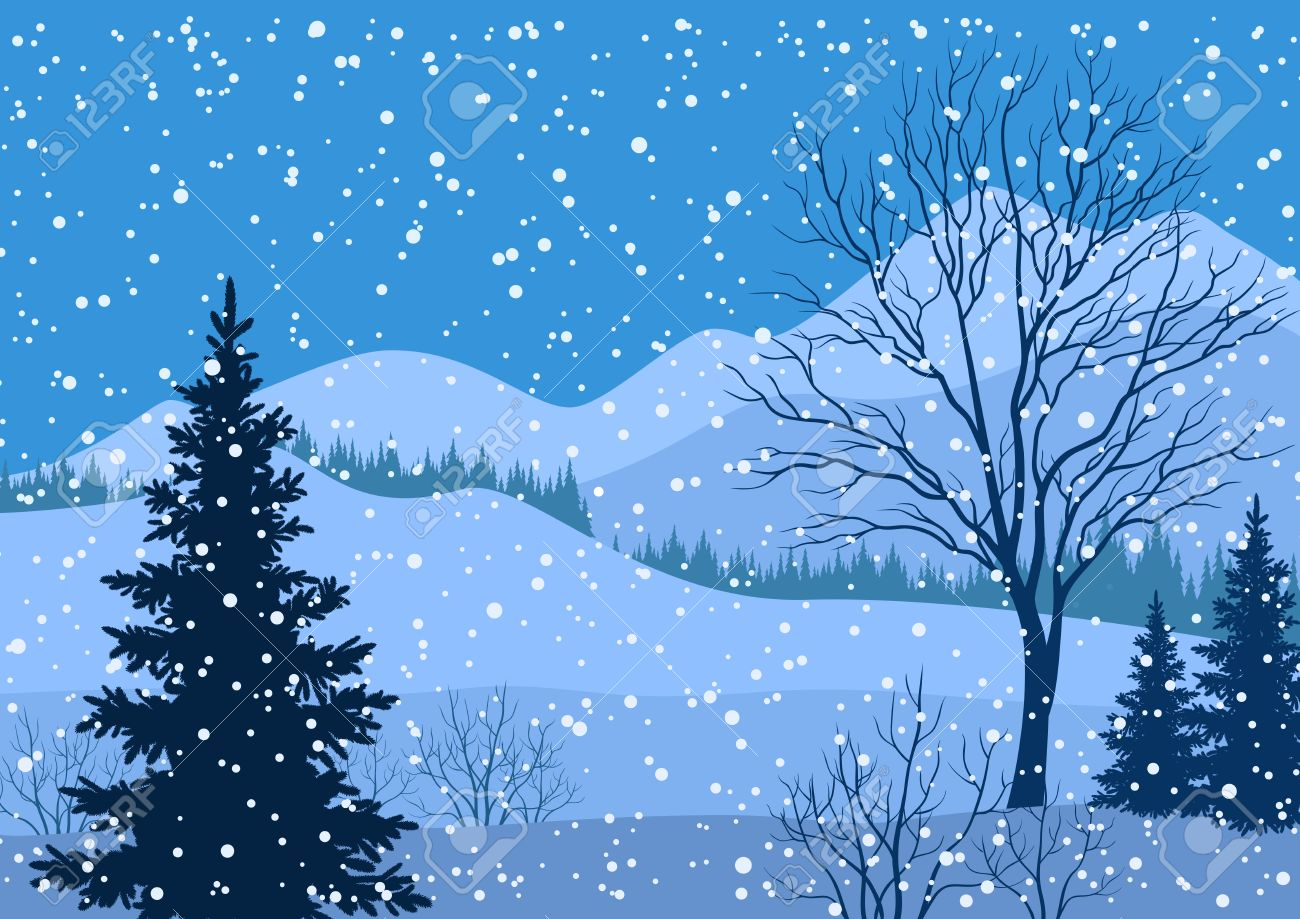 Mountain Christmas Tree.Winter Mountain Christmas Landscape With Fir Trees Silhouette