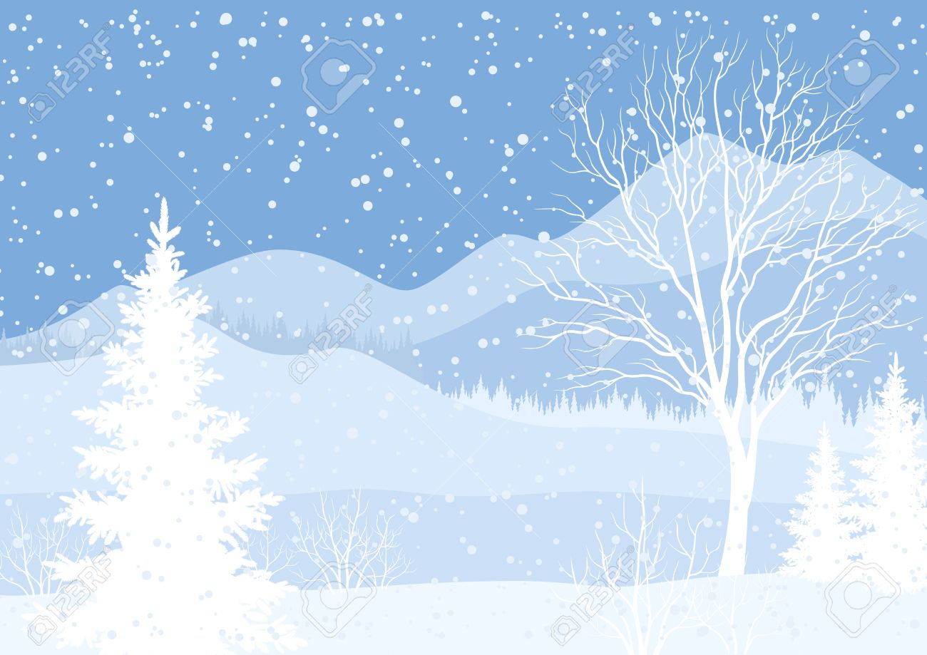Mountain Christmas.Winter Mountain Christmas Landscape With Fir Trees And Snow