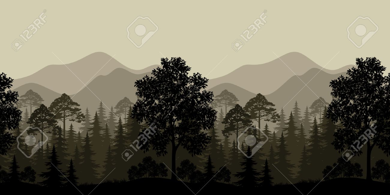 Seamless Horizontal Landscape, Evening Forest with Trees Silhouettes and Mountains. Vector - 38675018