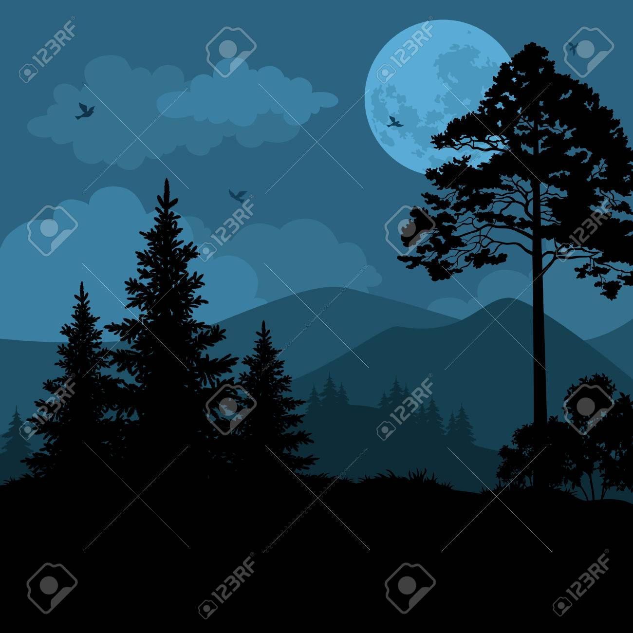 Night Mountain Landscape, Trees, Moon and Birds. Element of this Image Furnished by NASA, WWW.Visibleearth.Nasa.Gov. Vector - 38675023