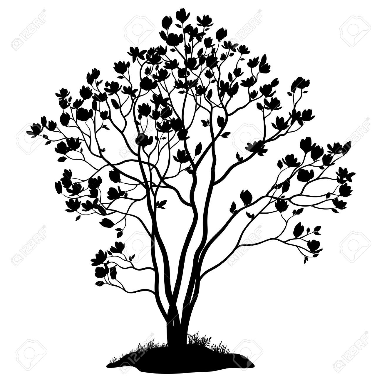 Grass And Flowers Clipart Black White Fall Clip Art