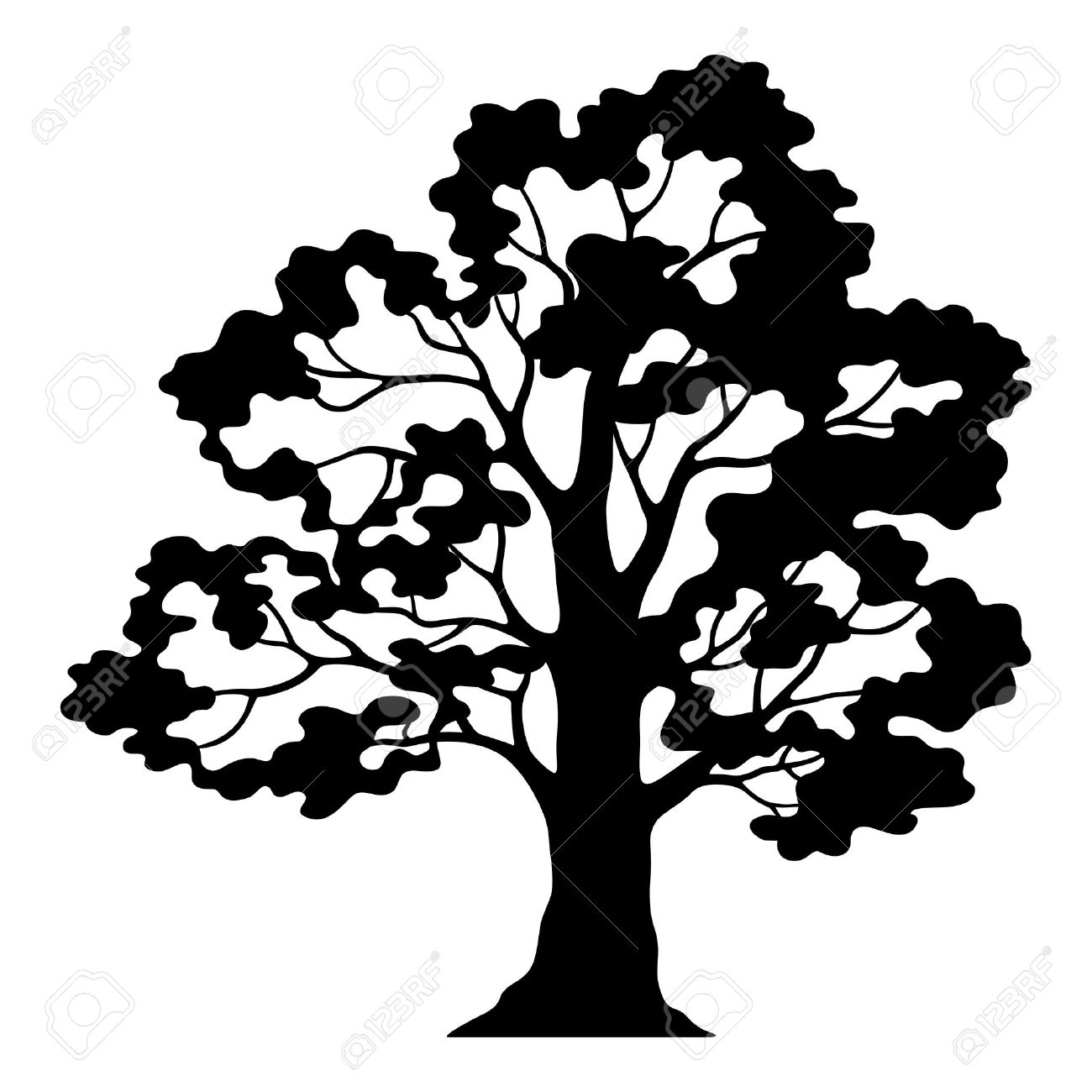 oak tree pictogram black silhouette and contours isolated on