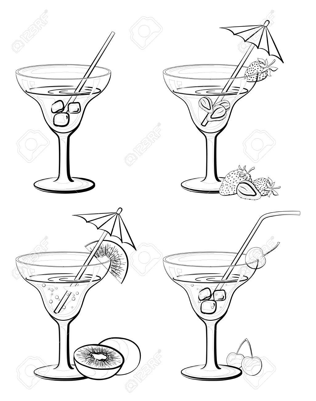 set floreros y vidrio con bebidas jugo frutas y bayas negras contornos aislados sobre