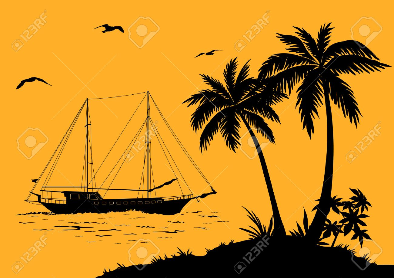 Tropical Sea Landscape, Palm Trees and Flowers, Ship and Birds Gulls black Silhouettes. Vector - 41004640