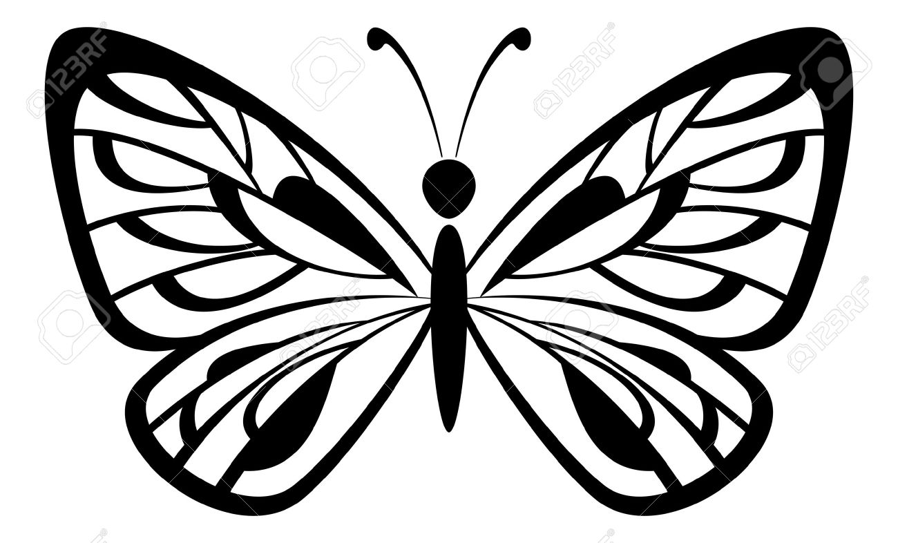 butterfly monochrome black pictogram icon isolated on white