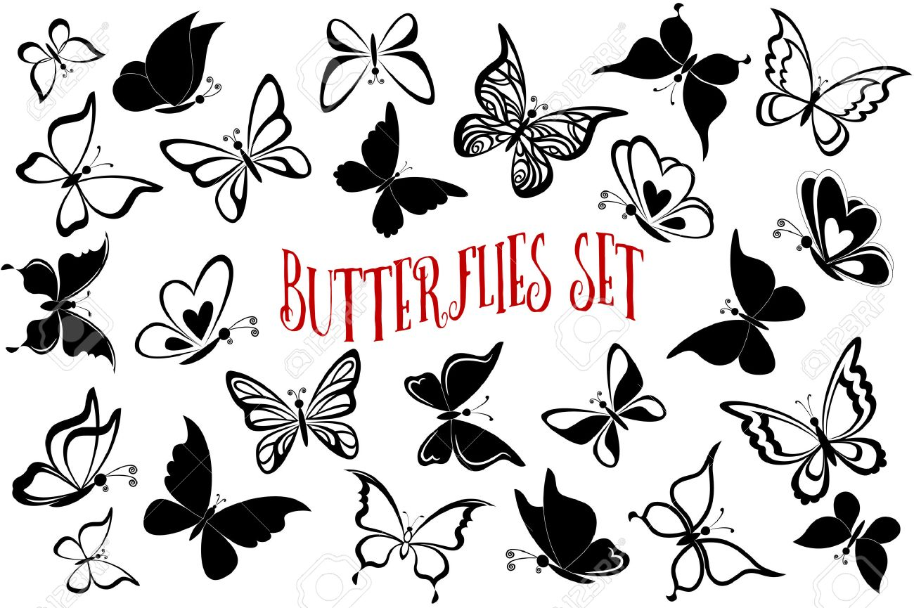 Set Butterflies Pictograms, Monochrome Black Contours and Silhouettes Isolated on White Background. - 54520276