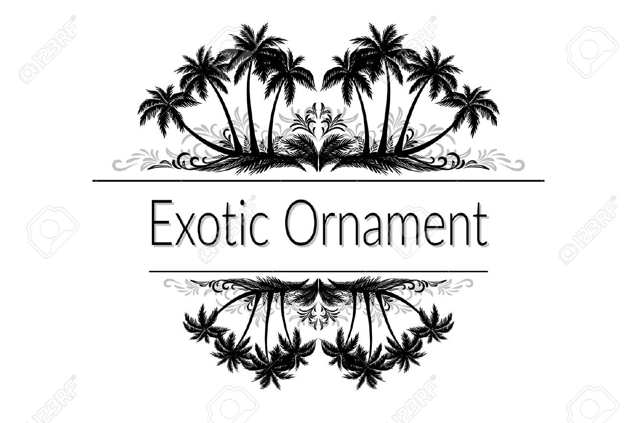 Exotic Ornament, Palm Trees and Grass Black Silhouette and Abstract Grey Floral Pattern with Place for Your Text. - 61037017