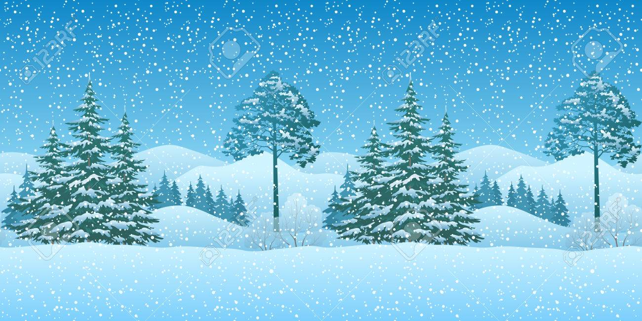 Christmas Mountain.Seamless Horizontal Winter Christmas Mountain Woodland Landscape