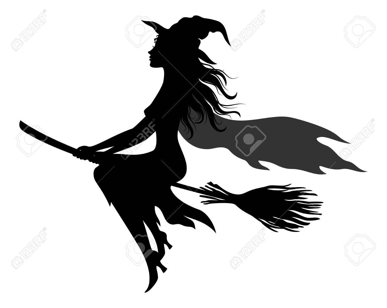 Witch Flying on Broom vector - 85781227