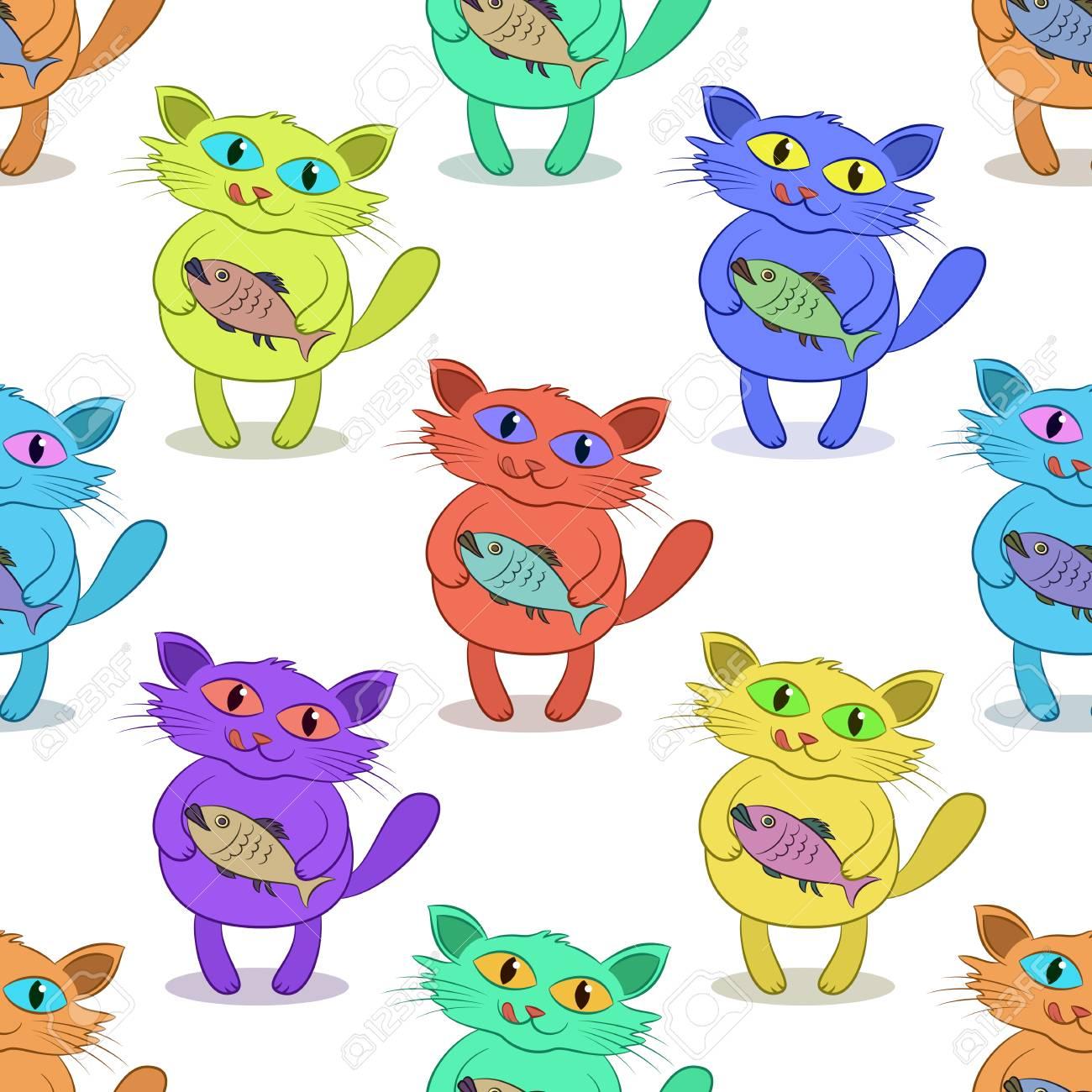 Patrón De Azulejos, Dibujos Animados Divertidos Gato Colorido Con ...