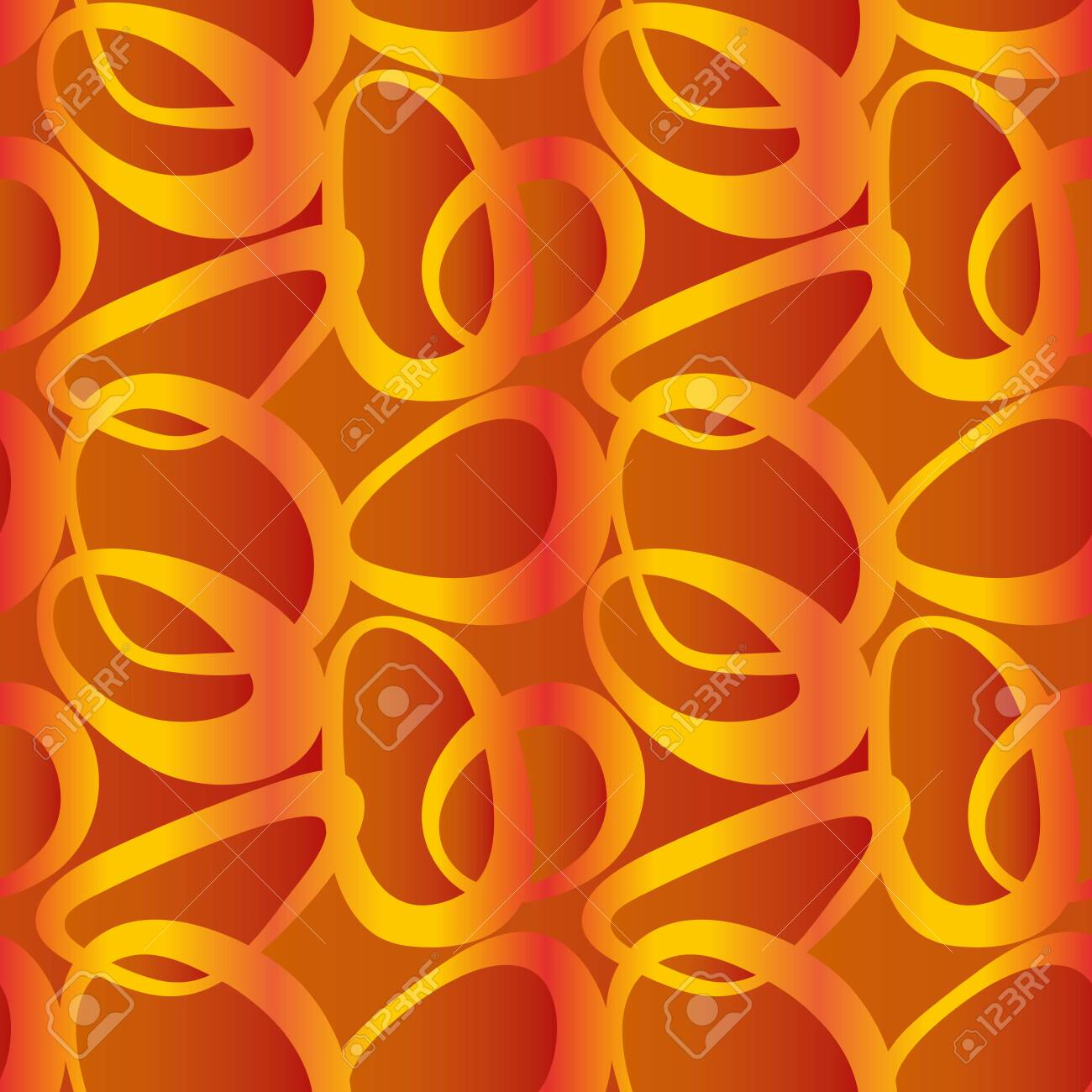 Seamless Abstract Tile Pattern with Golden Yellow Rings on Orange - 137232087