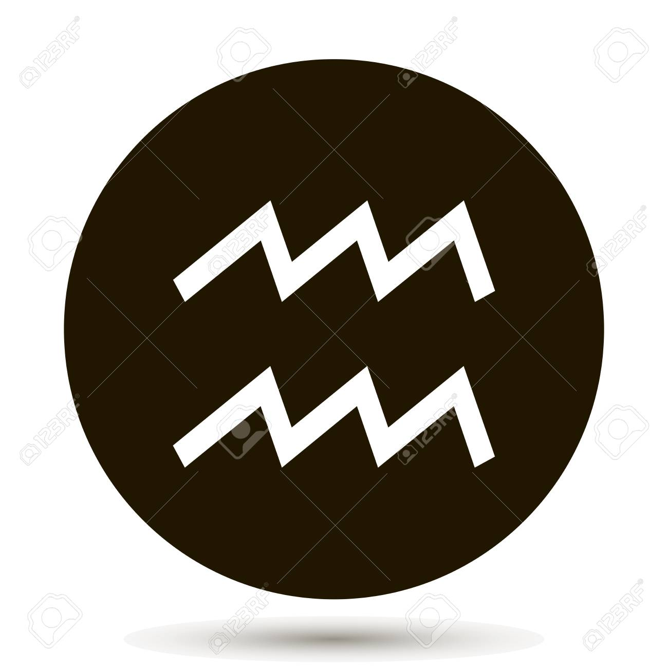 aquarius zodiac sign astrological symbol icon in circle on