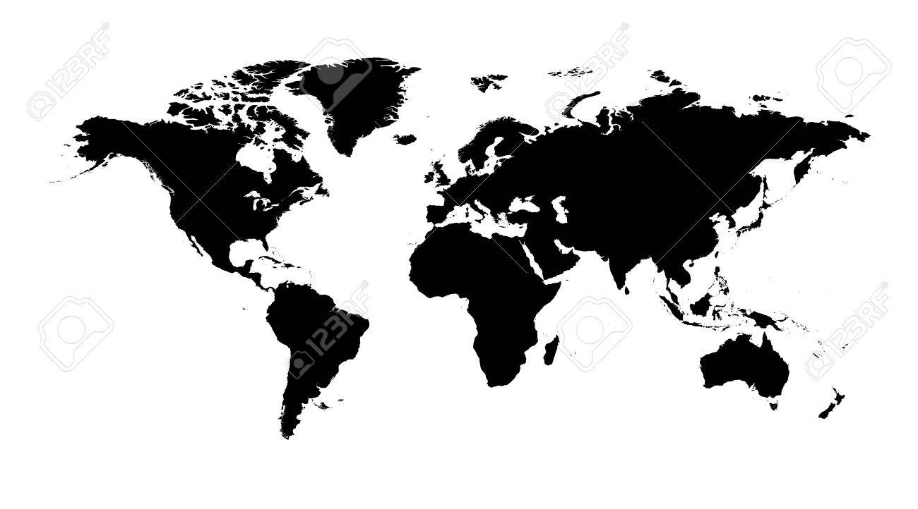 Blank Black World Map On Isolated White Background. World Map Vector  Template For Website,