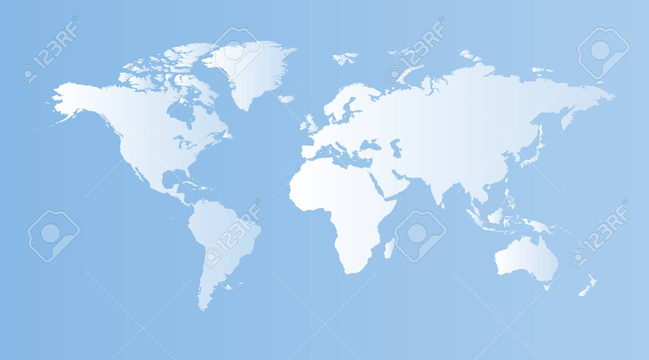 Blank Blue World Map On Isolated Blue Background World Map Vector