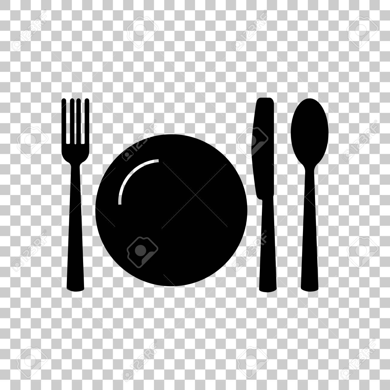 Knife fork spoon and plate. Cutlery. Table setting. Vector icon illustration  sc 1 st  123RF.com & Knife Fork Spoon And Plate. Cutlery. Table Setting. Vector ...