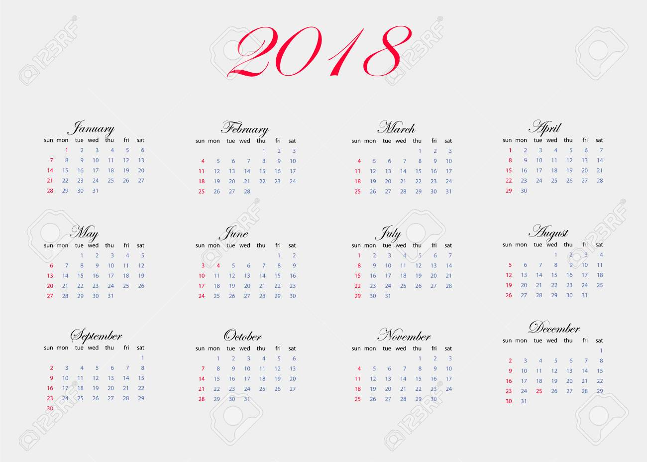Calendario 12 Mesi.Immagine Vettoriale Del Calendario Per 2018 Anni Il Calendario E Incluso 12 Mesi All Anno