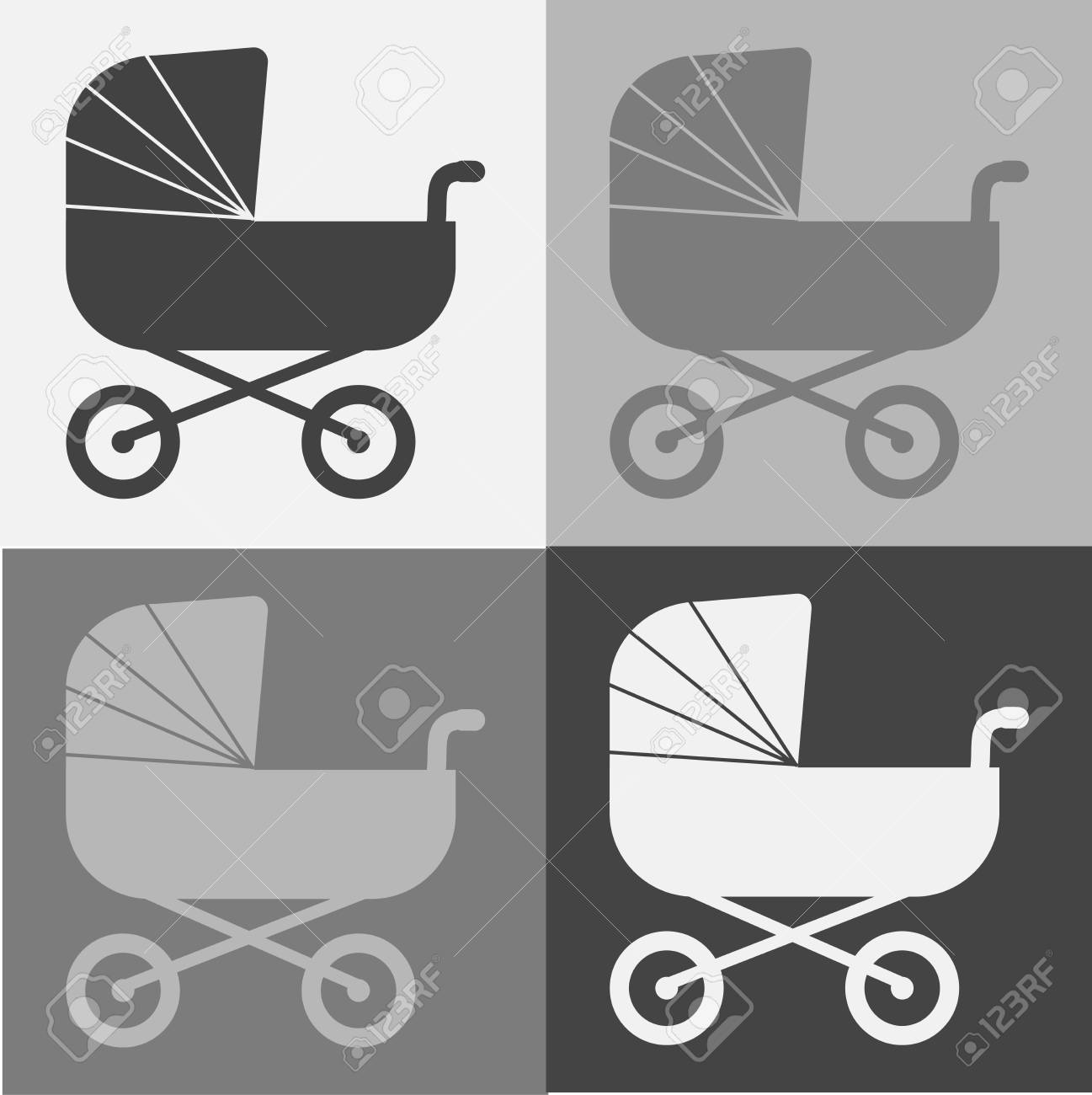Moderno, cochecito del bebé, icono, simple, estilo Clipart