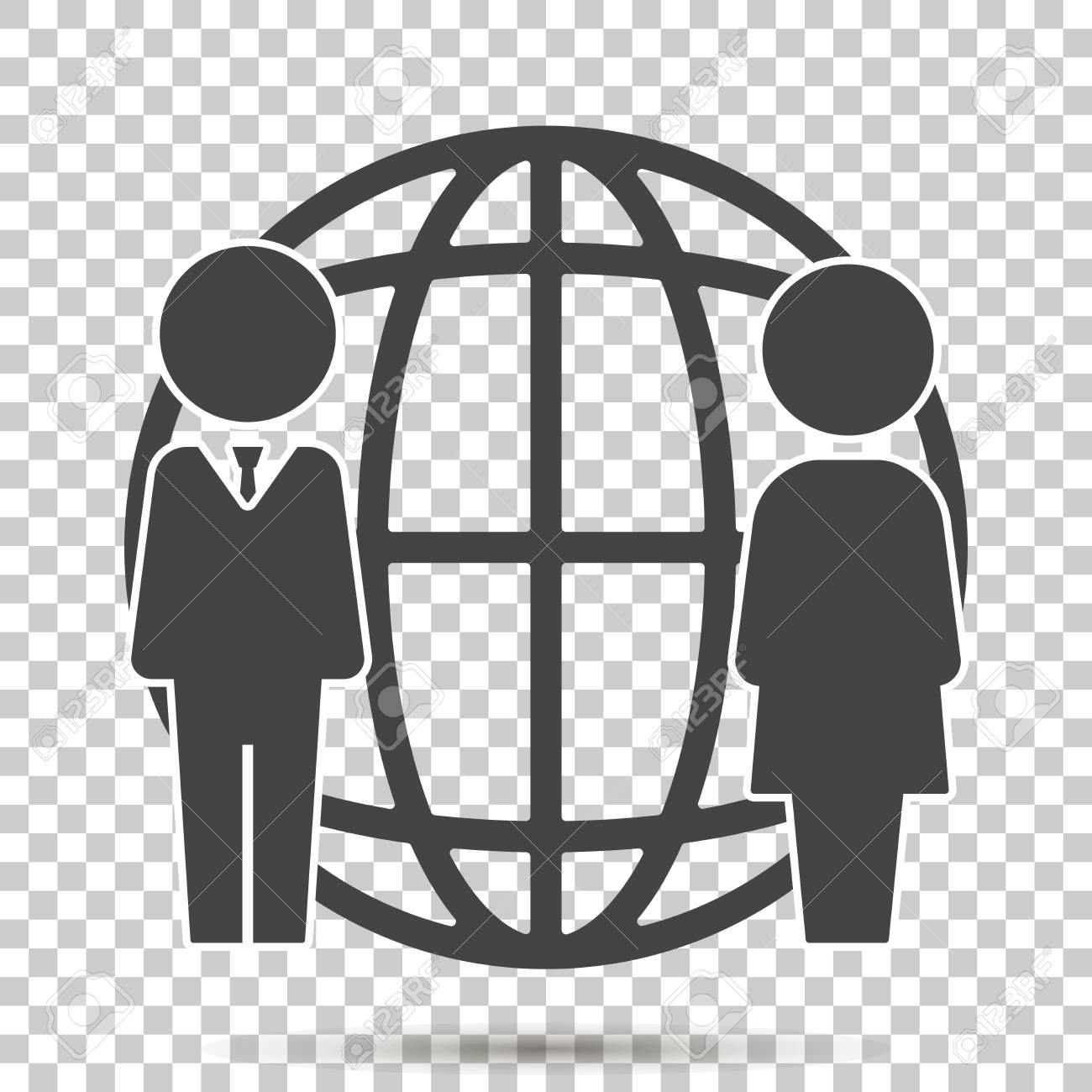 Vector business icon people standing next to a worldwide network