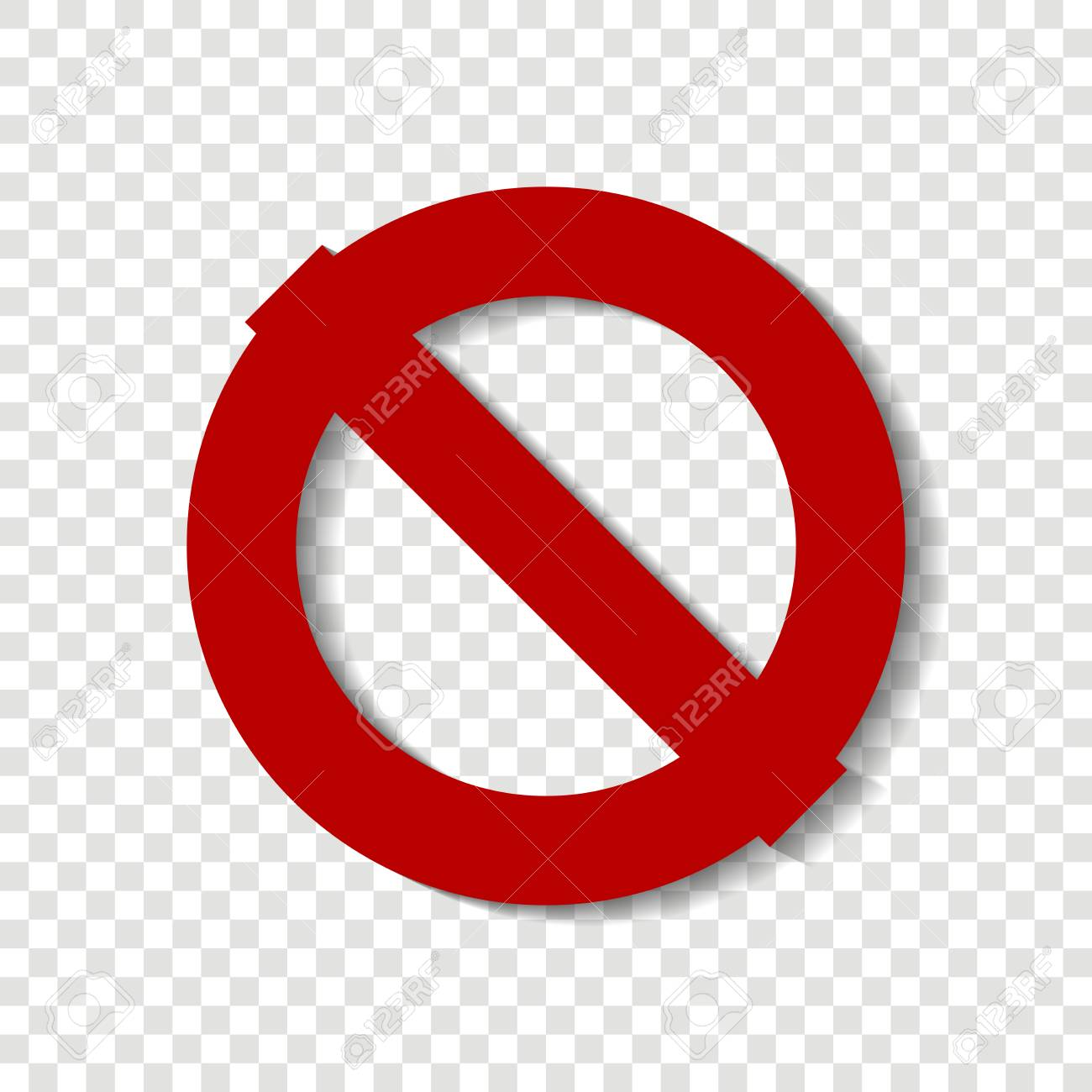 Stop vector icon The crossed-out circle  Red stop sign  Warning