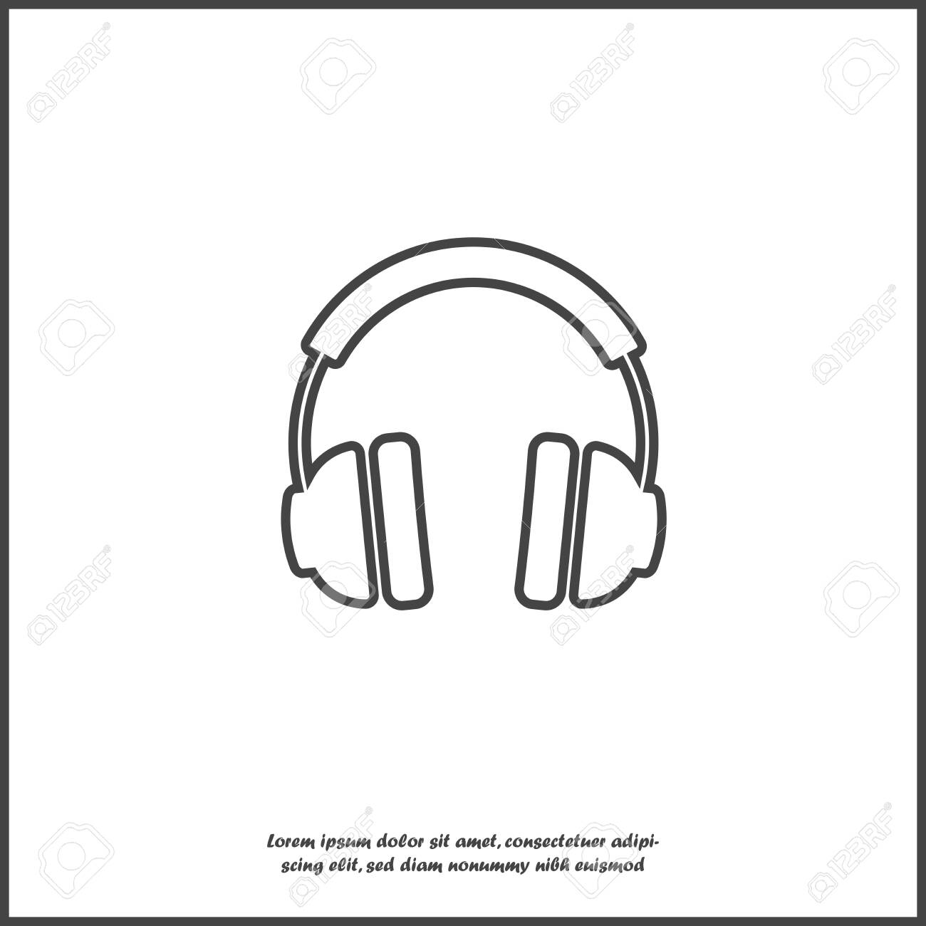 Headphones Vector Icon Flat Headphones Icon On White Isolated Royalty Free Cliparts Vectors And Stock Illustration Image 120666565