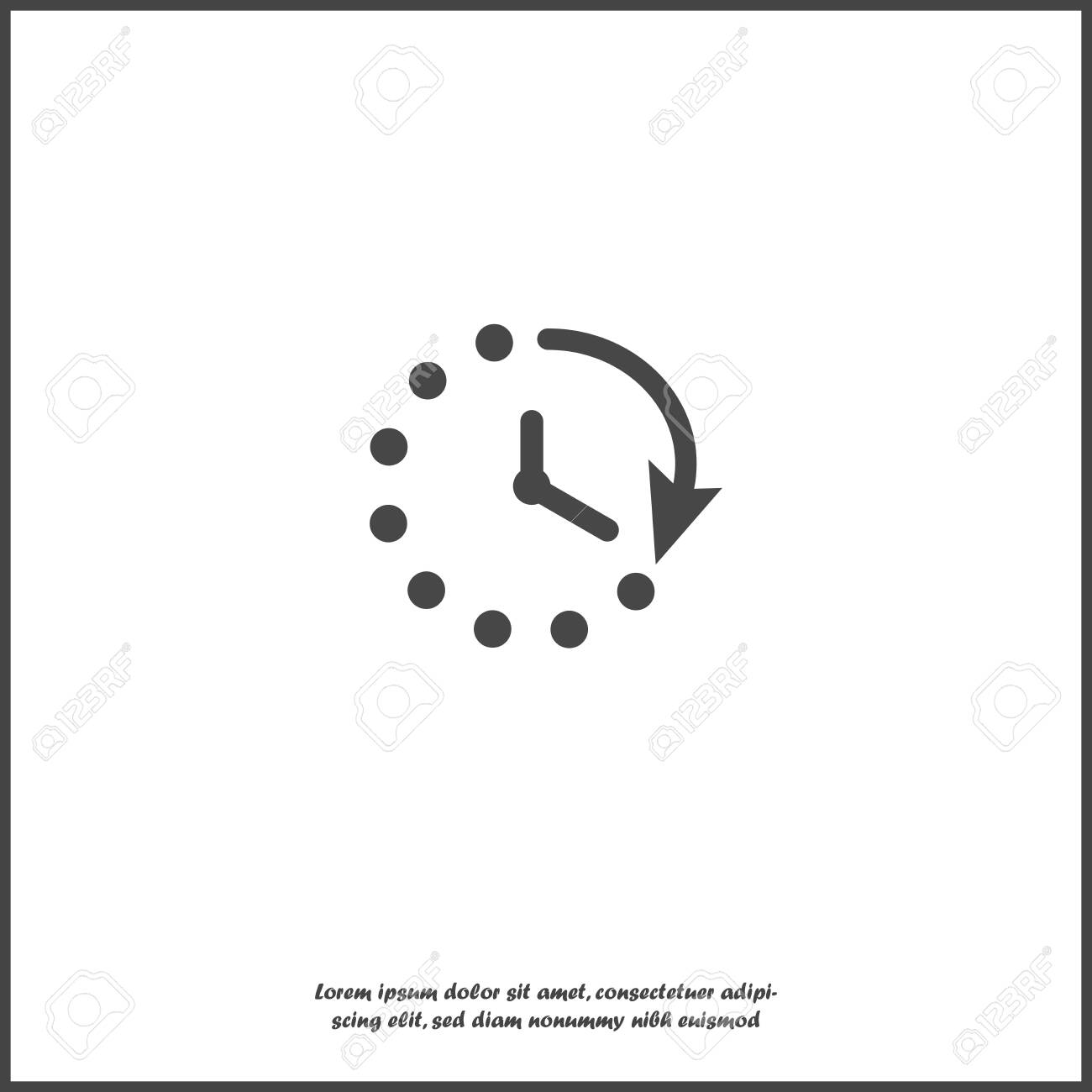 Clock Vector Icon  Symbol Countdown On White Isolated Background