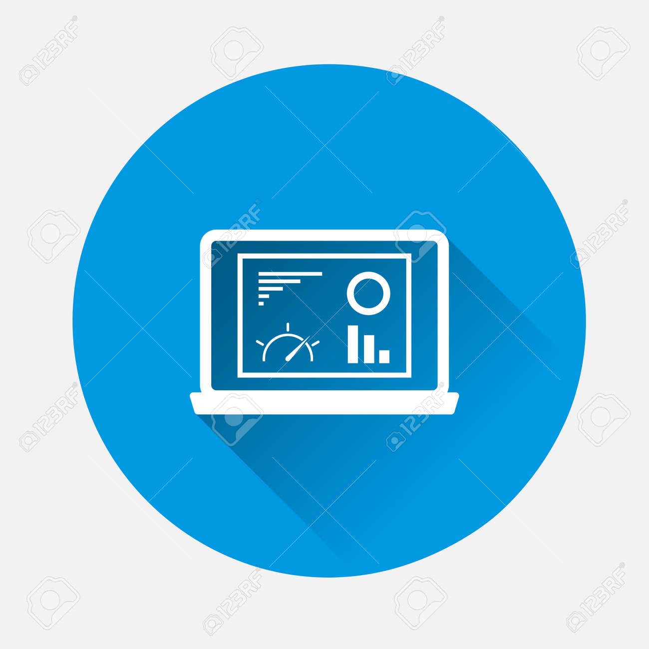 Vector pointer direction icon on blue background. Flat image with long shadow.Layers grouped for easy editing illustration. - 168890765