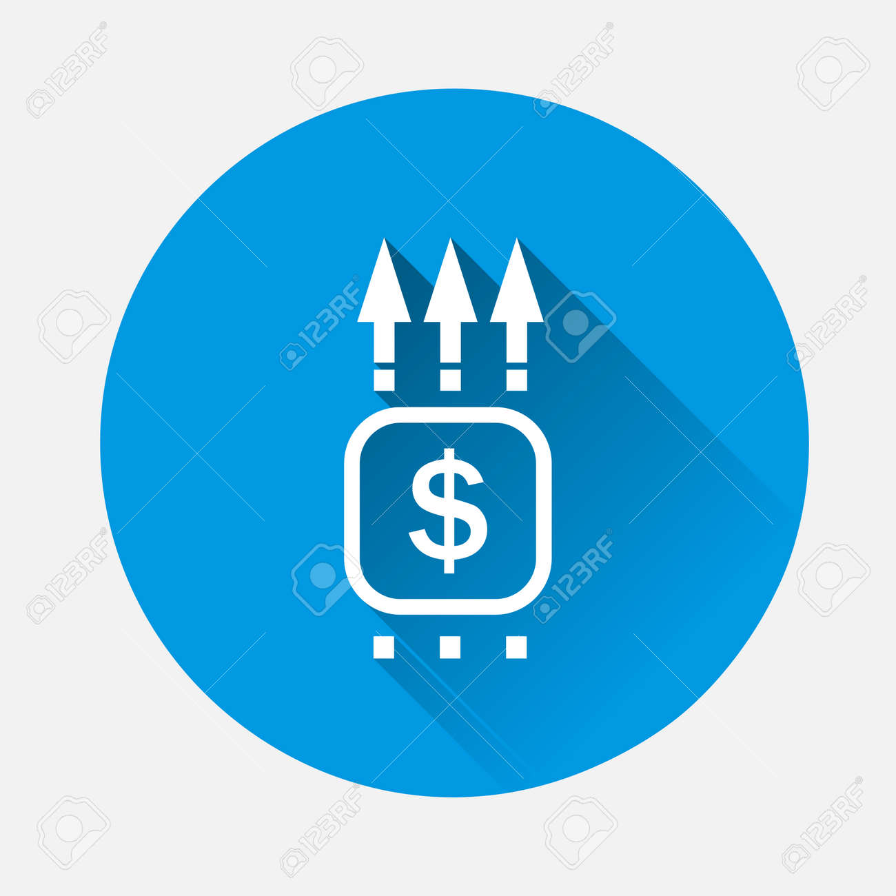 Vector pointer direction icon on blue background. Flat image with long shadow.Layers grouped for easy editing illustration. - 168890784