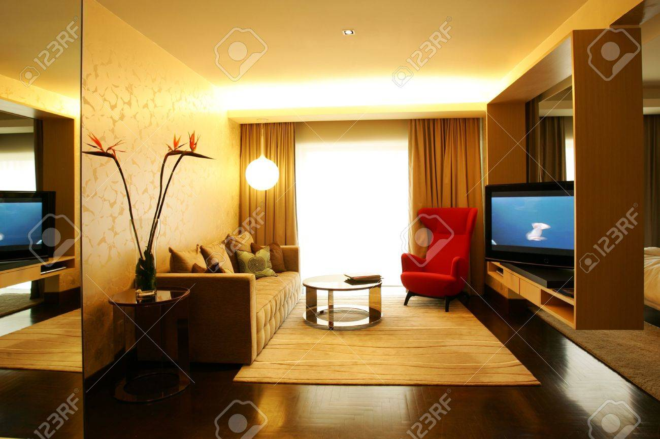 Contemporary Living Room In Modern Hotel Stock Photo