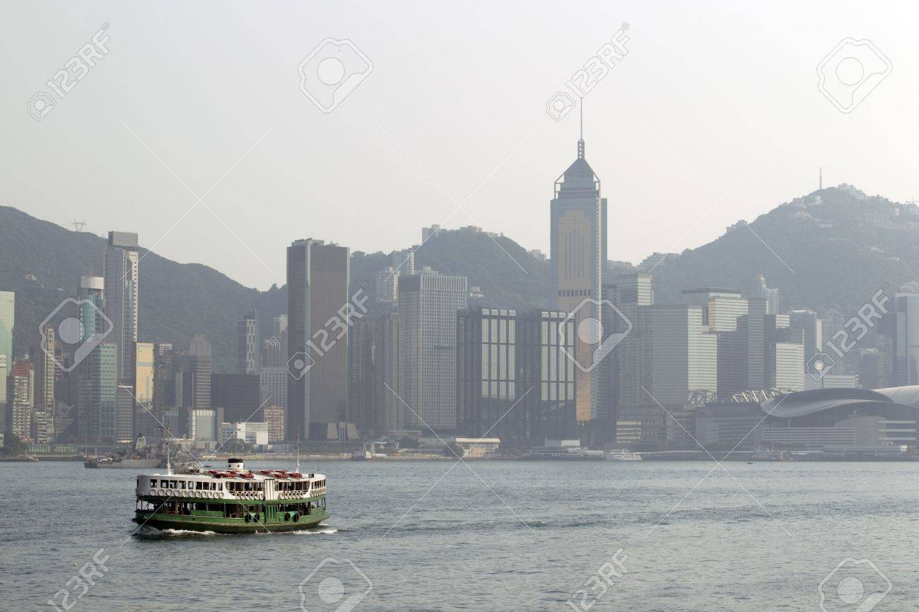 Ferry boat in Victoria Harbor,  Hong Kong Stock Photo - 7662485