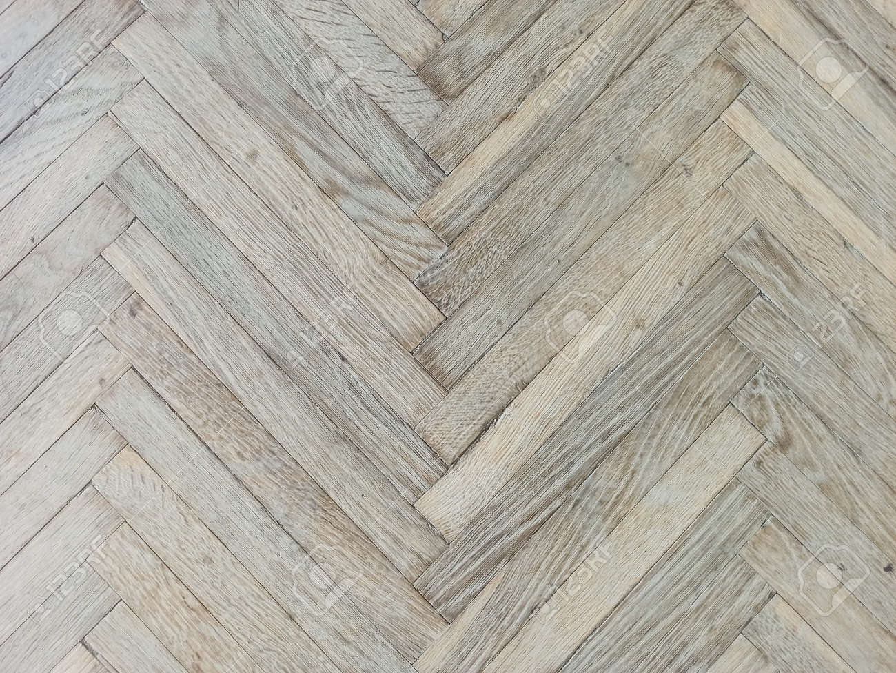 Close up texture of old parquet. Wooden flooring in old building. Plank floor surface. Classic light wood block parquet. - 167090655