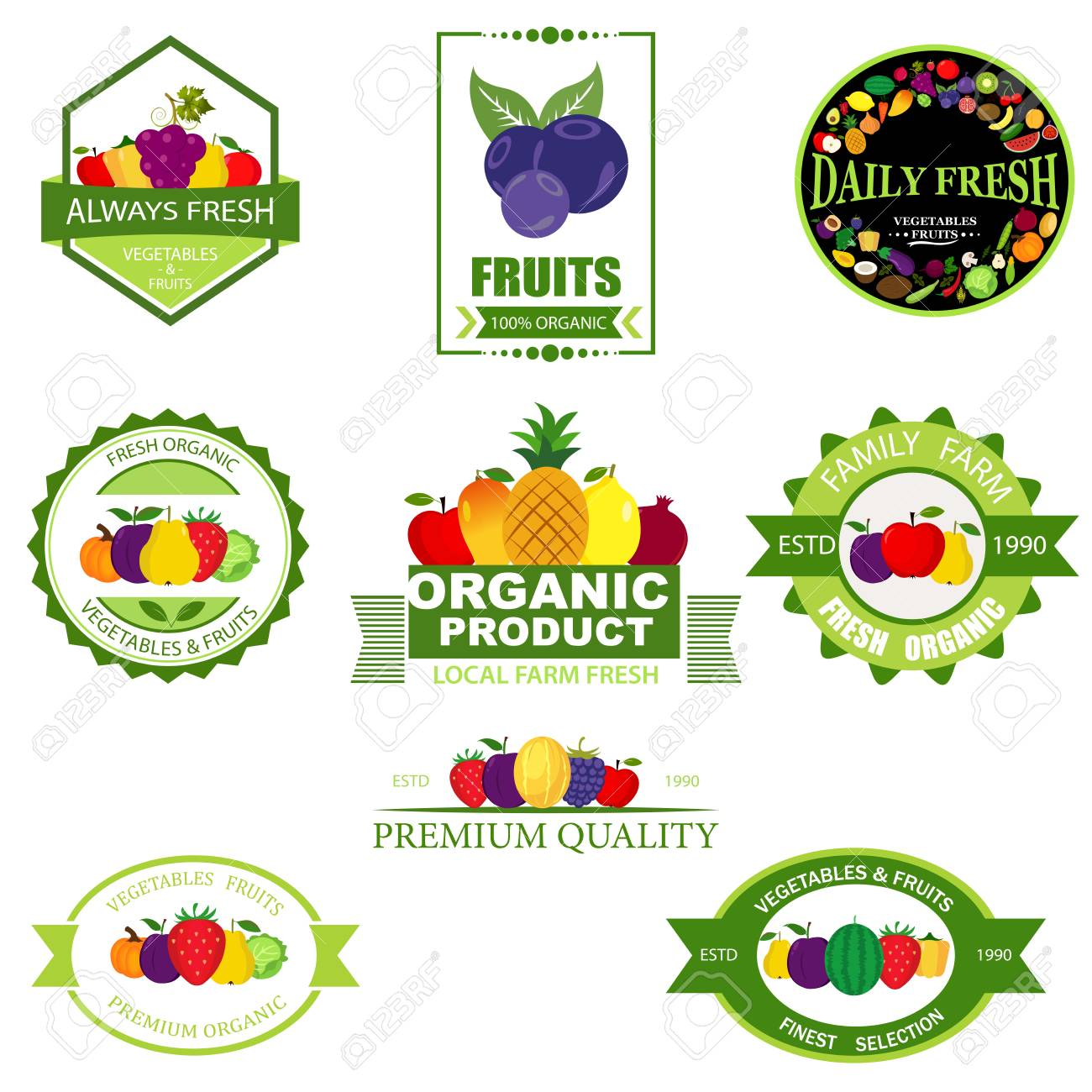 Set Of Fruit And Vegetables Logo Royalty Free Cliparts Vectors And Stock Illustration Image 102224906