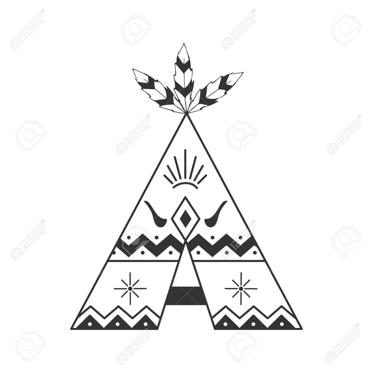 Cute tipi illustration isolated on white with feathers and indian ornaments. Vector wigwam boho style. - 83172819