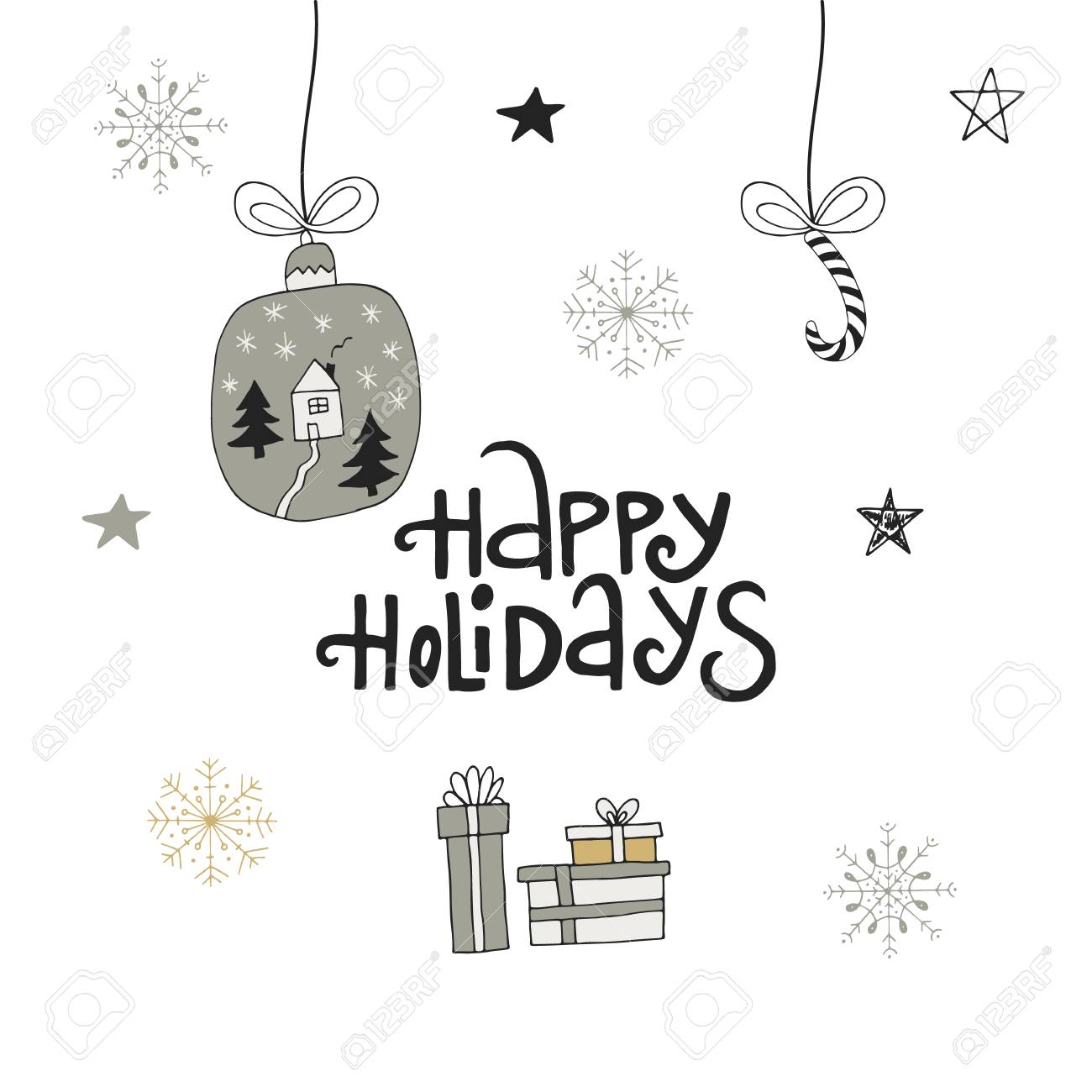 happy holidays hand drawn christmas lettering with xmas decoration cute new year clip art