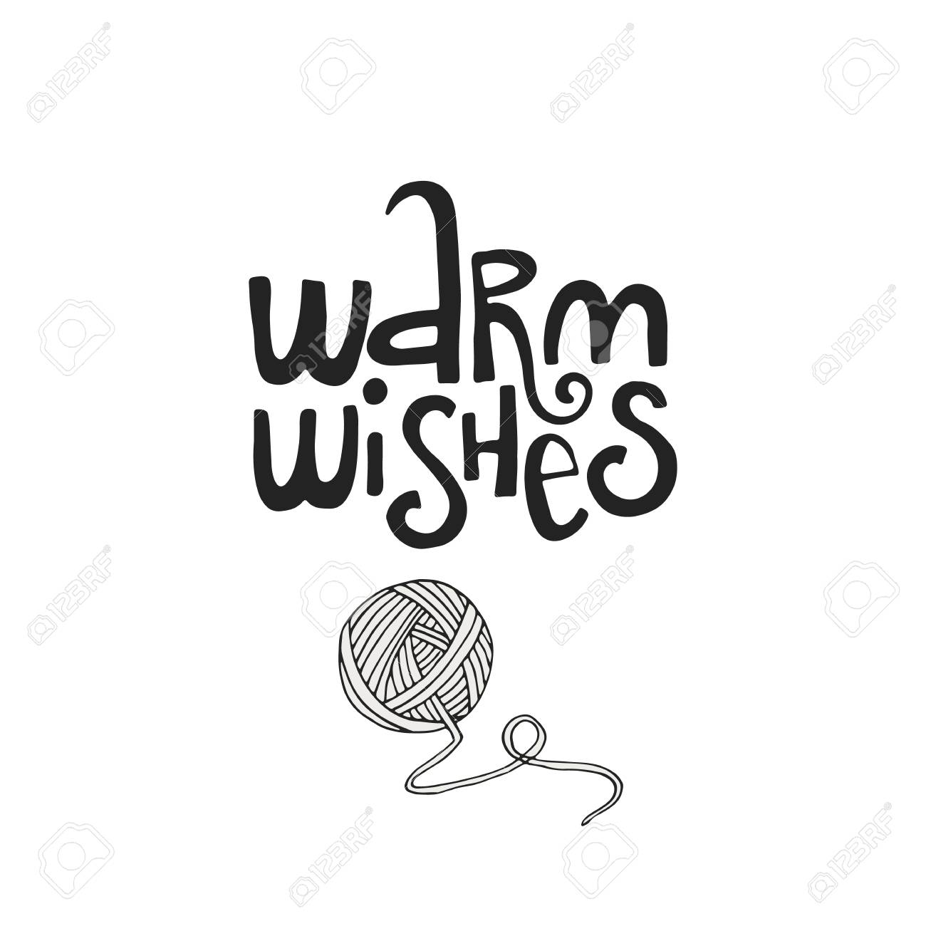 vector warm wishes hand drawn christmas lettering with xmas decoration cute new year clip art vector illustration