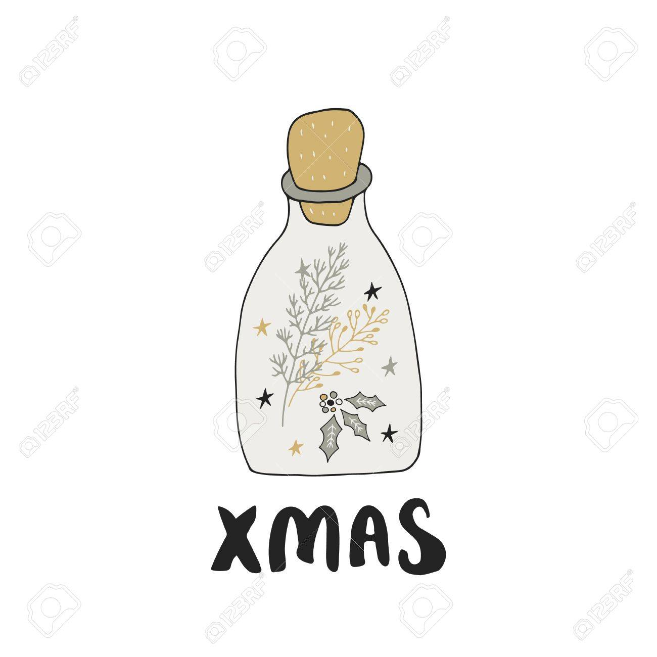merry christmas hand drawn christmas lettering with xmas decoration cute new year clip art