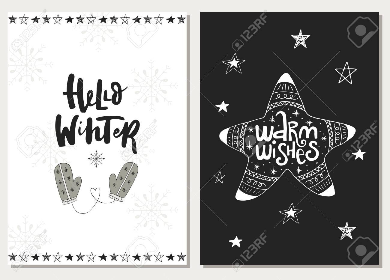 Weihnachtshand Gezeichnet, Pctcards Beschriftend ...
