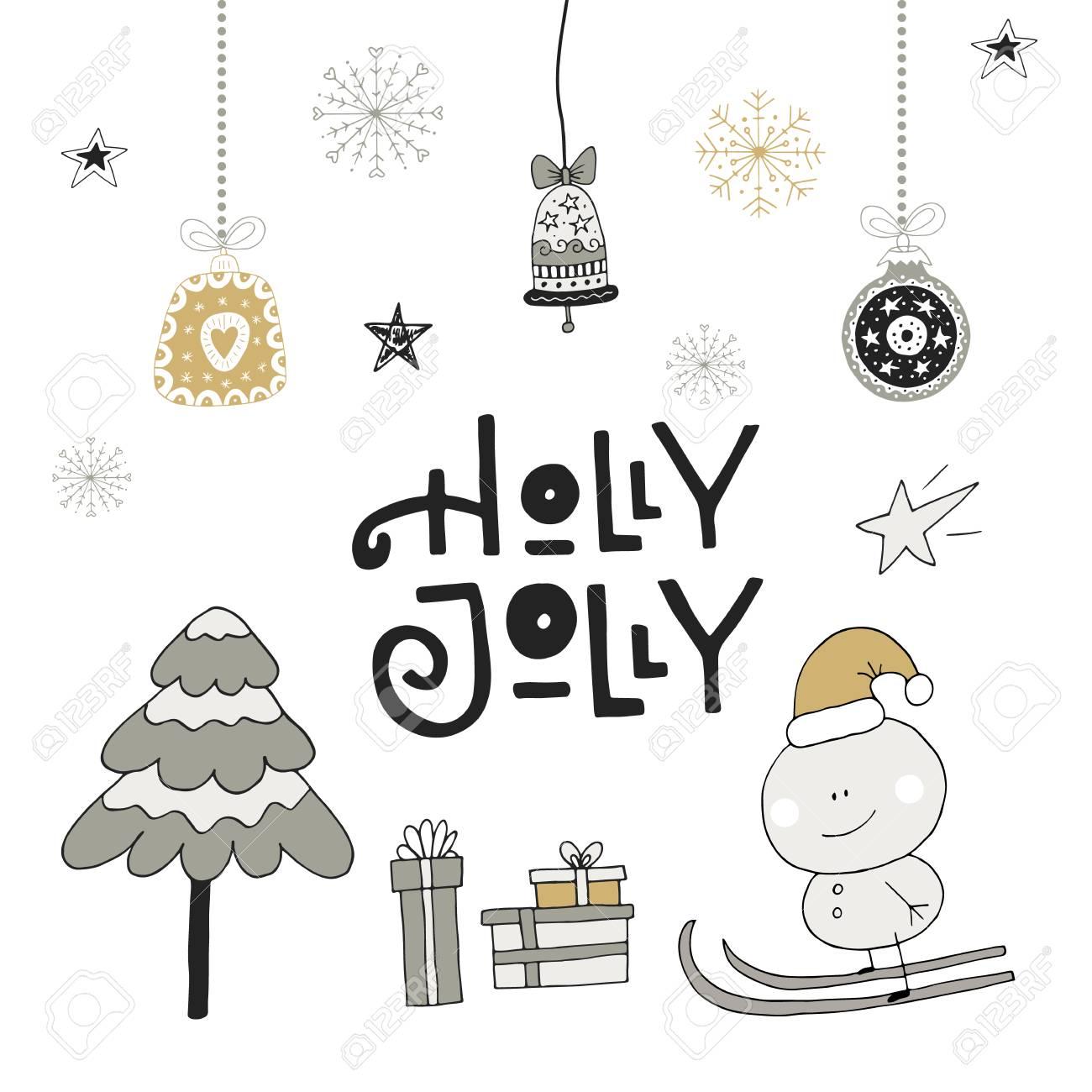新年あけましておめでとうございます 手の装飾と描画のクリスマス レタリング かわいい正月クリップアート ベクトルの図 のイラスト素材 ベクタ Image